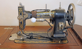 Vintage White Rotary Sewing Machine w/ Cabinet
