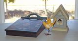 Scandinavian Style Lap Desk, Bird House & Bird