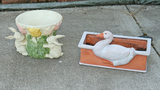 Planters: Resin Bunnies & Clay Duck