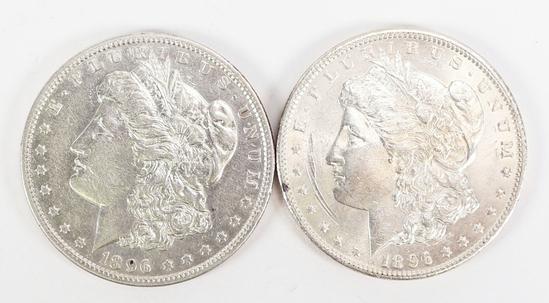 2 - 1896-P Morgan Silver Dollars