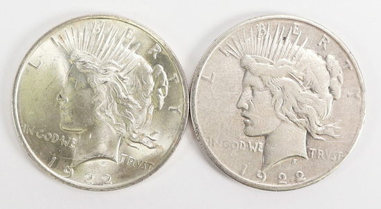 1922-P & 1922-S Peace Silver Dollars