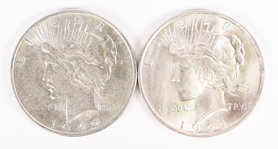2 - 1922-P Peace Silver Dollars