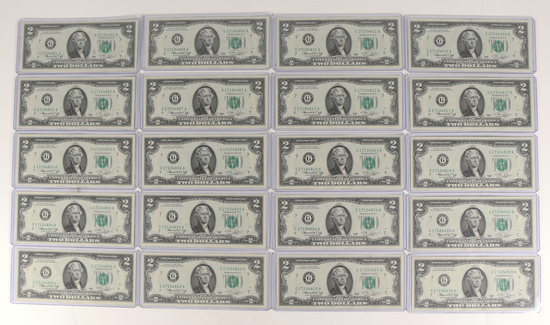 20 1976 $2 Federal Reserve Notes with Consecutive Serial Numbers