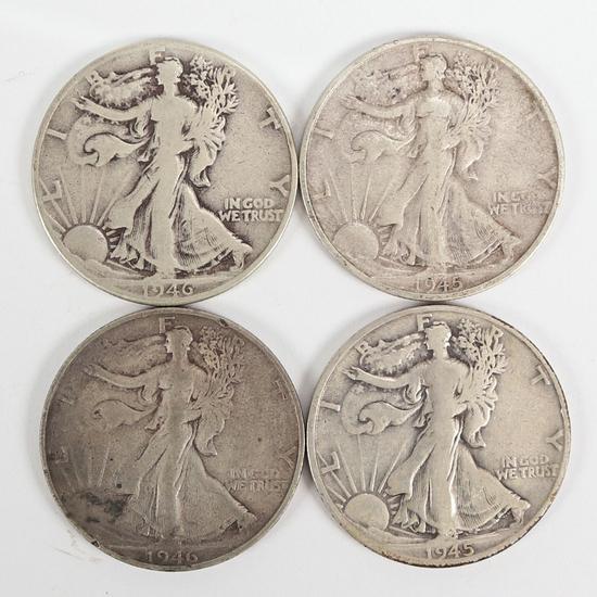 4 Walking Liberty Silver Half Dollars