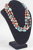 Turquoise & Gemstone Multistrand Beaded Necklace, DRT .925