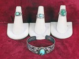 Silver Colored Southwest Style Rings & Bracelet