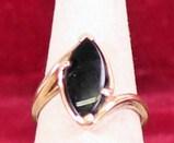 10K Gold Ring w/Black Stone, Sz. 5 1/4