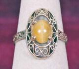 10K Gold Filigree Ring w/Yellow Stone, Sz. 6