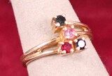 10K Gold Ring w/4 Colored Stones, Sz. 3 3/4