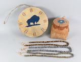 Buffalo Drum, Small Birch Basket & Beads