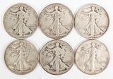 6 Walking Liberty Silver Half Dollars