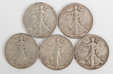 5 Walking Liberty Silver Half Dollars
