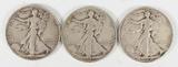 3 Walking Liberty Silver Half Dollars,