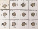 12 Roosevelt Silver Dimes - Various Dates/Mints