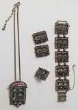 Vintage Costume Jewelry Set, Bracelet, Necklace, Clip-on Earrings &