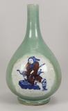 Chinese Celadon Vase with Underglaze Blue & Red Figure