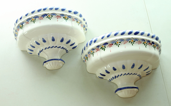 Ceramic Wall Sconce Planters, Spain