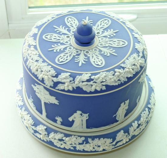 Wedgwood Style Jasperware Cake Plate w/ Lid