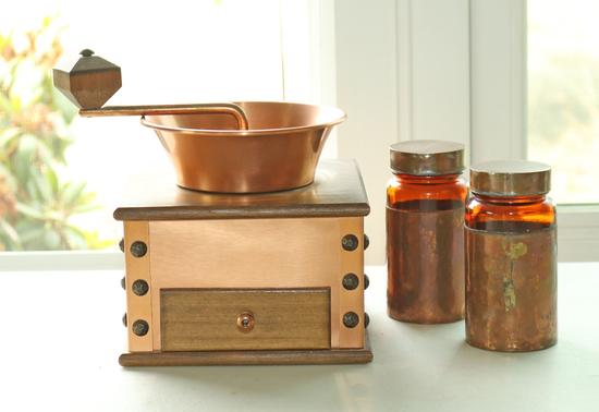 Copper Clad Coffee Grinder & Bottles