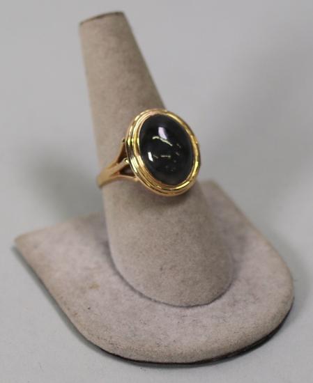 14K Gold Ring with Smokey Grey Stone, Sz. 8 3/4