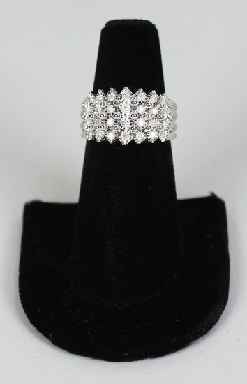 .925 Bridge Diamond Cocktail Ring, w/ 1/2 cttw, Sz.8