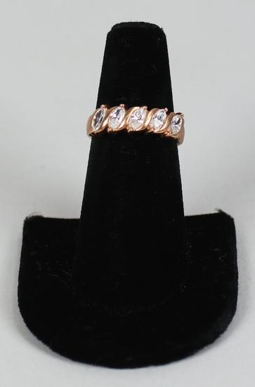 .925 Ring with 5 CZ Stones, Sz. 8