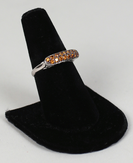 .925 Ring with Yellow Colored Stones, Sz. 9