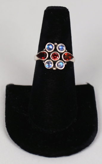 .925 NB India Ring with Amber & Light Blue Stones, Sz. 8 3/4
