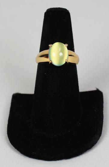 .925 Yellow Moonstone Type Ring, Sz. 8
