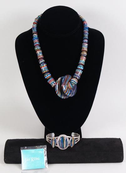 Jay King .925 DTR Rainbow Calsilica Multi Color Necklace & Bracelet