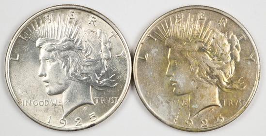 2 - 1925-P Peace Silver Dollars
