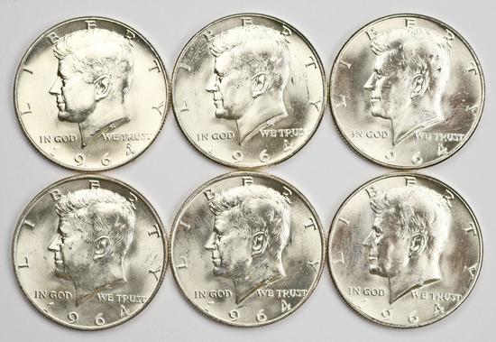6 - 1964-D Kennedy Half Dollars