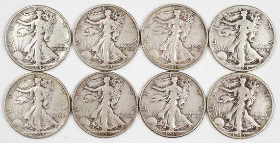 8 Walking Liberty Half Dollars