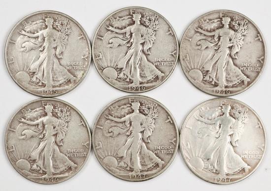 6 Walking Liberty Half Dollars