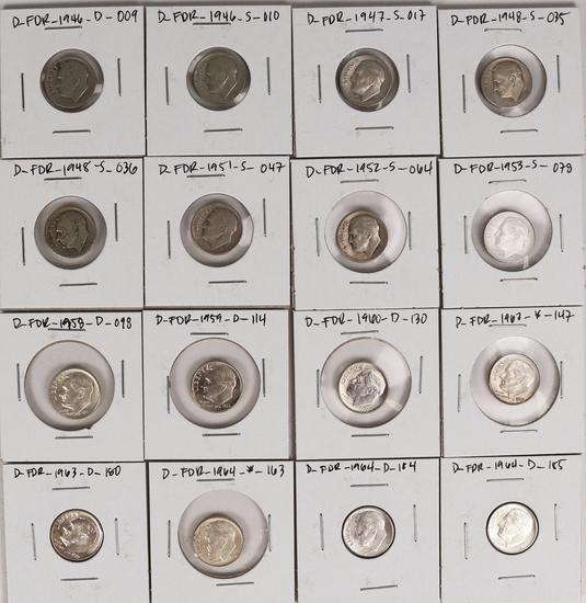 16 Roosevelt Silver Dimes