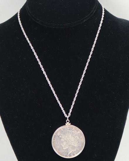 1922-D Peace Silver Dollar on .925 Chain