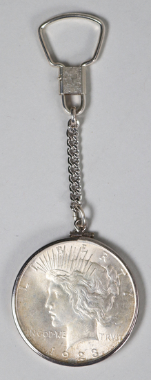 1923-P Peace Silver Dollar on Sterling Key Chain