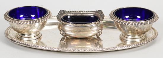 3 Sterling & Cobalt Glass Open Salt Cellars & Sterling Gorham Tray