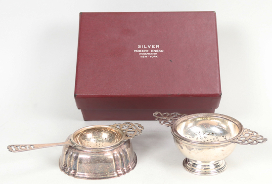 "Silver ""Queen Anne"" Tea Strainer & Drip Bowl and"