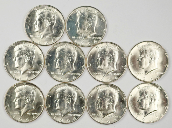 10 - 1964-D Kennedy Half Dollars