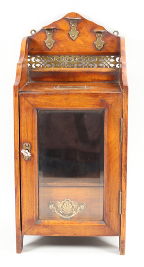 Antique Pipe Box w/Glass Front & Drawer
