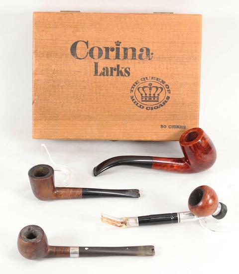 4 Vintage Tobacco Pipes and Cigar Box