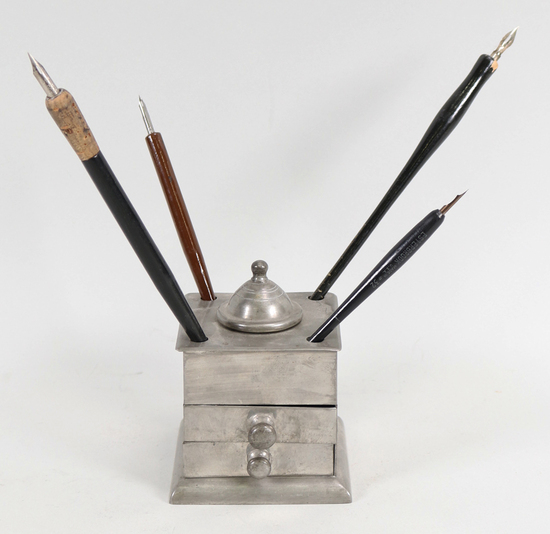 Antique Metal Calligraphy Pen Holder w/4 Ink Dipping Pens