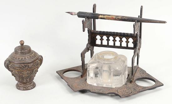 2 Antique Metal Ink Wells
