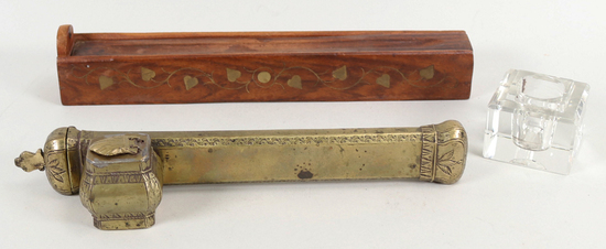 Ottoman Empire Divit Inkwell & Quill Holder, Wooden Pencil Box
