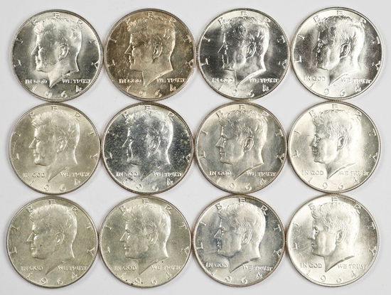 12 - 1964-D Kennedy Half Dollars