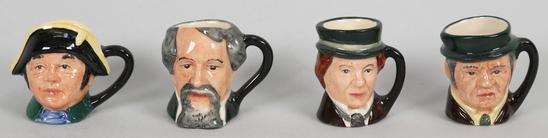 4 Miniature Royal Doulton Toby Mugs, Mr. Bumble, Dickens, &
