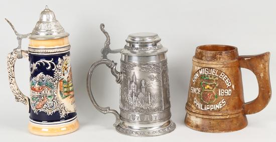 """2 German Beer Stein & Wooden """"San Miguel"""" Beer Stein"""