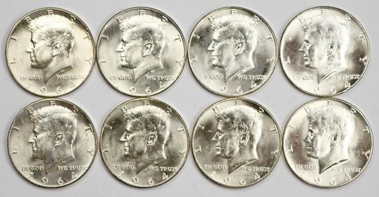 8 - 1964-D Kennedy Half Dollars