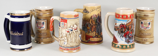 6 Collectible Beer Steins, Budweiser, Olympic, US Commemorative, etc.